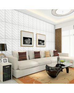 ورق حائط فوم ثلاثي الابعاد جلد كلاسيكي ابيض