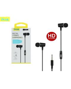 ivon metal stereo earphones jack 3.5mm  130cm / e41 / black