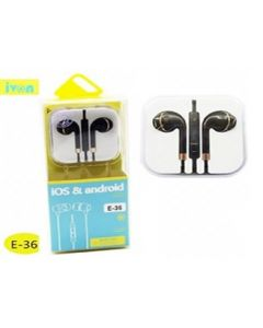 Ivon handfree ios and android  3.5mm stereo  120cm/  black