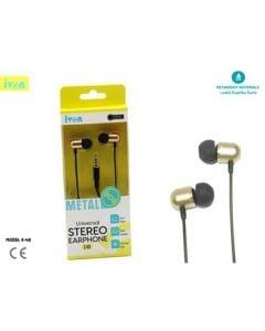 ivon universal stereo earphone 130cm  jack 3.5mm/  black / e48