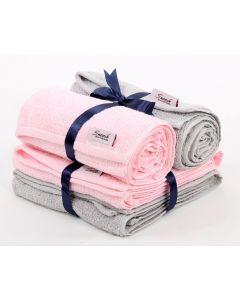 Hand Towels Set (4PCS) pink * grey
