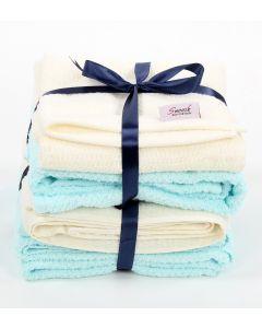 Bath towels set (4 pcs) light blue * off white
