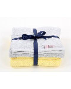 Bath towels set (2 pcs) Yellow * Grey