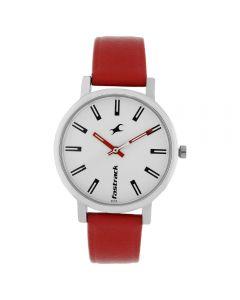 ساعة فاستراك فاندمينتالز انالوج بسوار جلدي بقرص ابيض للبنات - 68010SL01