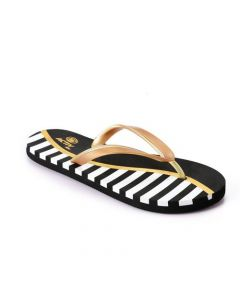 Activ Tri-tone Metalic Flip Flop - Black , Gold & White