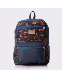 Activ Patterned Backpack Wih Zipper Closure - Black , Navy Blue & Orange