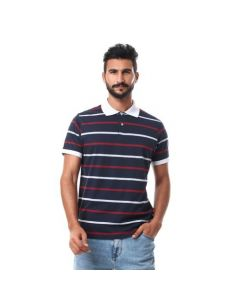 Activ Striped Turn Down Collar Polo Shirt - Navy , Grey & Red