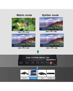 Keendex  HDMI Splitter 4x2 Switch Matrix With IR Remote UHD 3D 4K 2K Black / Kx2269
