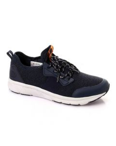 Activ Lace Up Textile & Leather Comfy Sneakers - Navy Blue