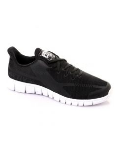 Activ Lace Up Leather & Mesh Rubber Sole Sneakers - Black
