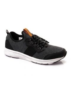 Activ Lace Up Textile & Leather Comfy Sneakers - Black