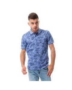 Activ Floral Buttoned Pique Polo Shirt - Blue
