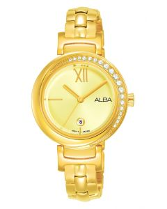 ALBA Ladies' Hand Watch FASHION Stainless Steel Bracelet and Light Champagne Dial AH7R76X1