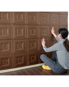 ورق حائط فوم ثلاثي الابعاد جلد بني
