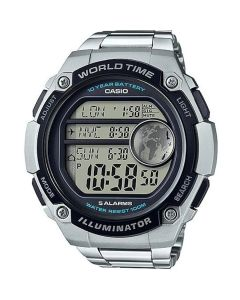 Casio Casual Watch, Digital, Stainless Steel Band For Men, Silver - AE-3000WD-1AVDF