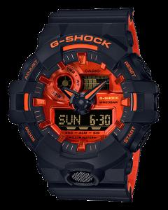 ساعة كاجوال جي شوك كاسيو للرجال، انالوج-ديجيتال، سوار سيليكون، اسود - GA-700BR-1ADR