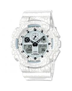 Casio G-Shock Casual Watch, Analog-Digital, Resin Band For Men, White - GA-100CG-7ADR