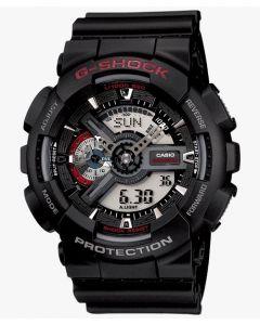 ساعة رياضية جي شوك كاسيو للرجال، انالوج-ديجيتال، سوار بلاستيك، اسود - GA-110-1ADR