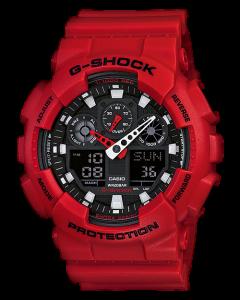 ساعة رياضية جي شوك كاسيو للرجال، انالوج-ديجيتال، سوار بلاستيك، احمر - GA-100B-4ADR