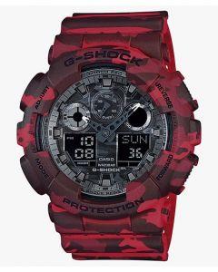 ساعة رياضية جي شوك كاسيو للرجال، انالوج-ديجيتال، سوار سيليكون، احمر - GA-100CM-4ADR