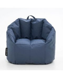Luxury Leather Bean Chair Dark Blue